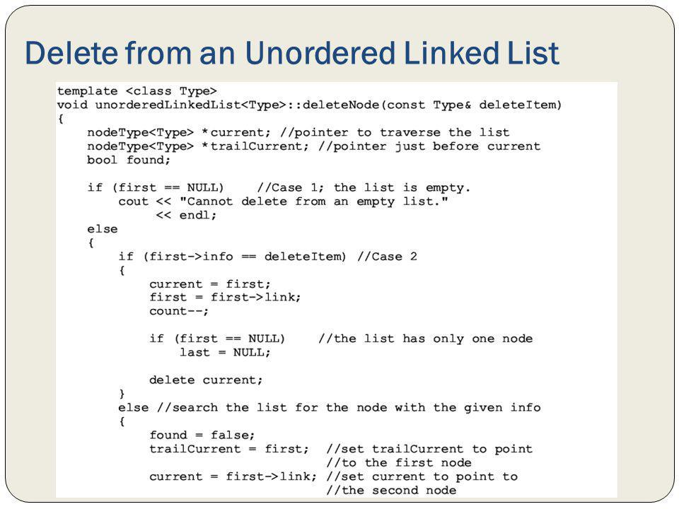Delete from an Unordered Linked List
