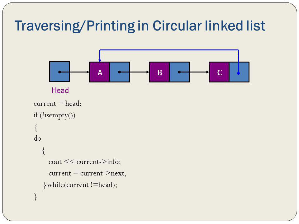 Traversing/Printing in Circular linked list