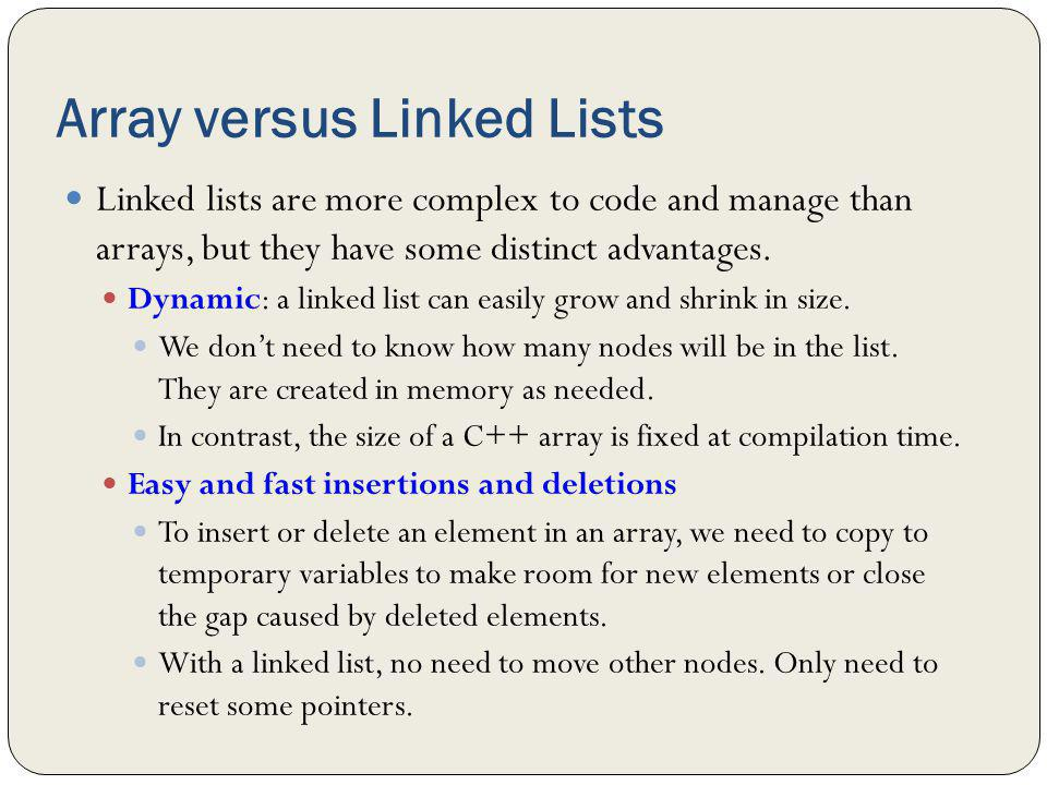 Array versus Linked Lists