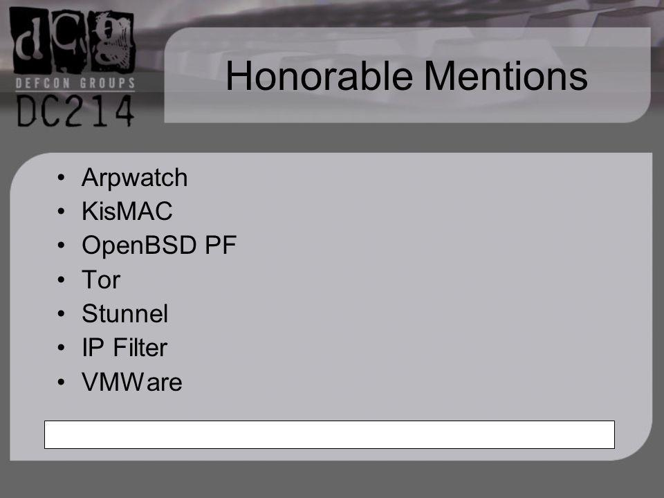 Honorable Mentions Arpwatch KisMAC OpenBSD PF Tor Stunnel IP Filter