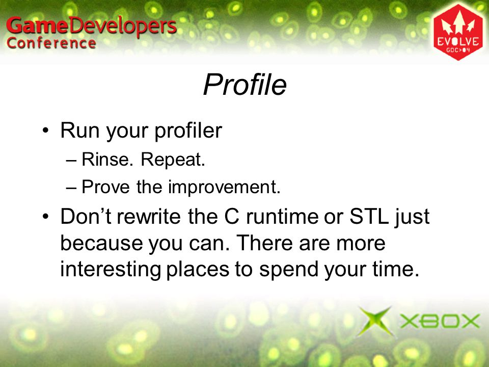 Profile Run your profiler