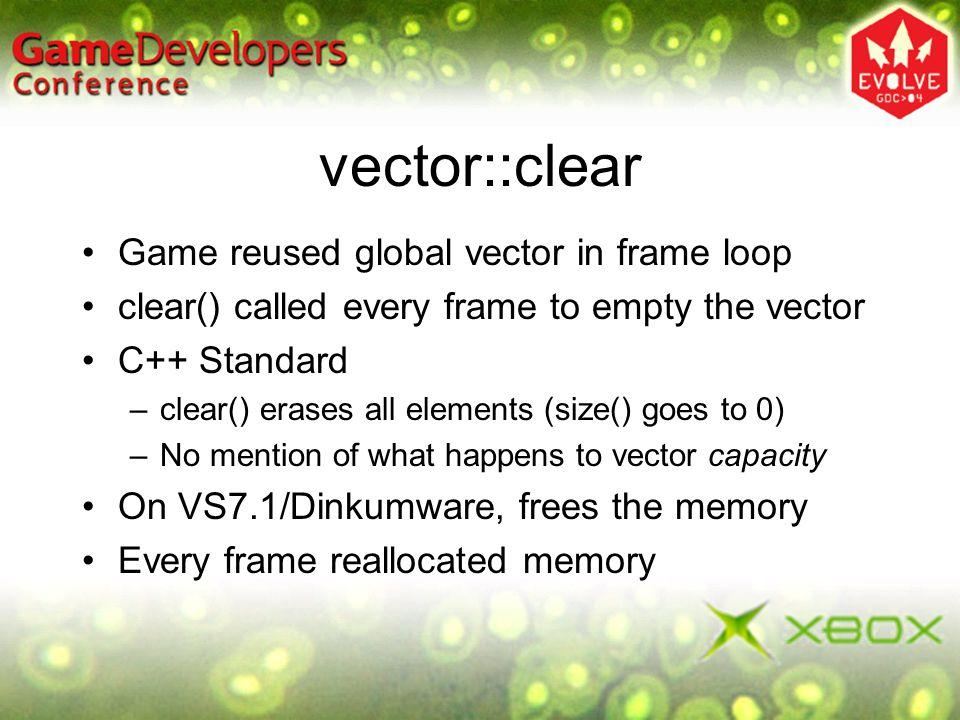vector::clear Game reused global vector in frame loop
