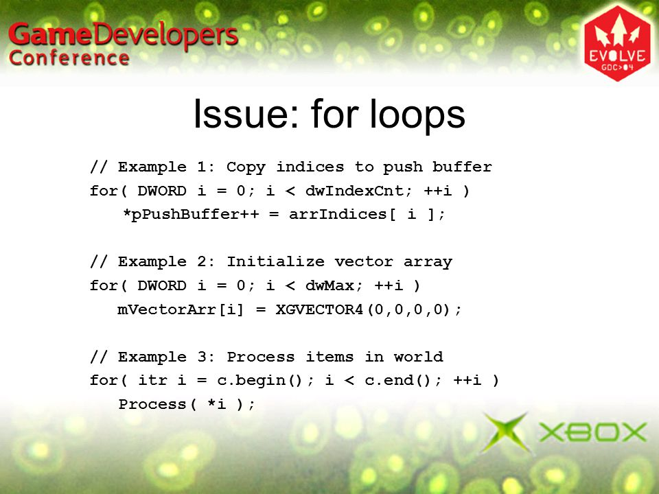 Issue: for loops // Example 1: Copy indices to push buffer