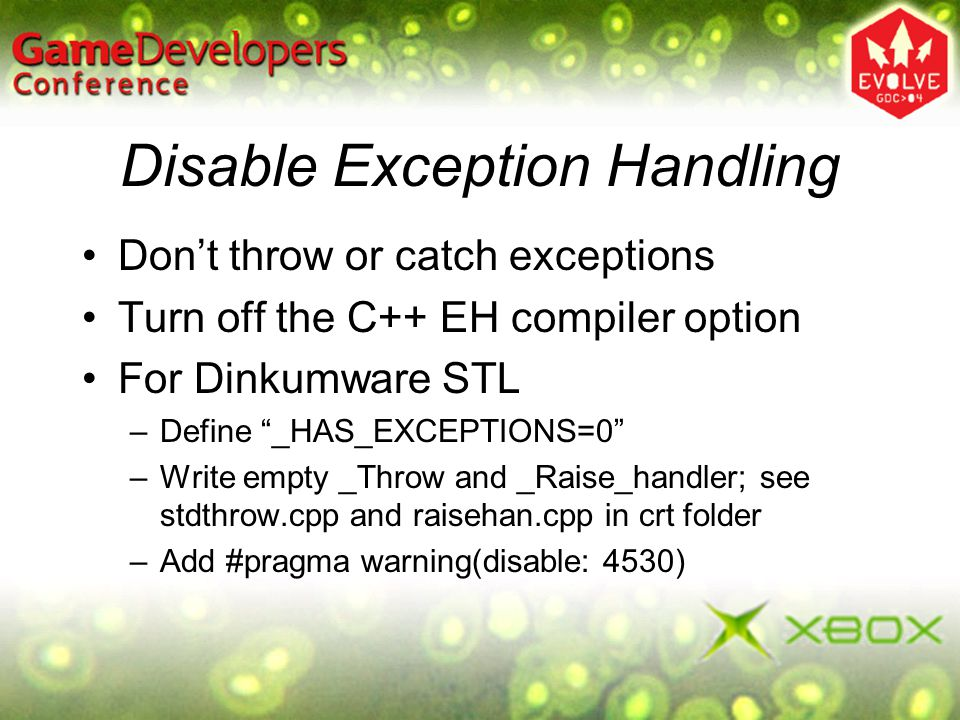 Disable Exception Handling