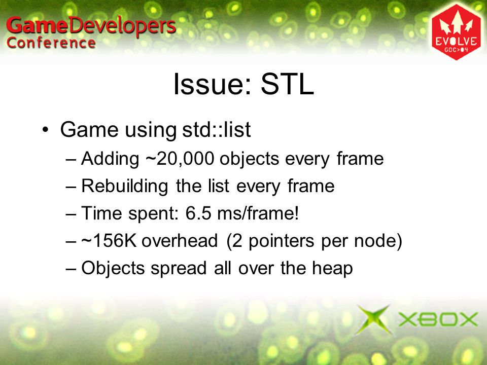Issue: STL Game using std::list Adding ~20,000 objects every frame