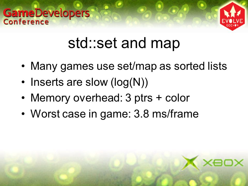 std::set and map Many games use set/map as sorted lists