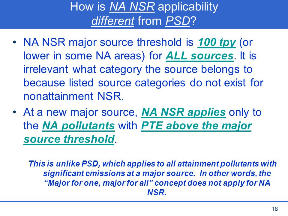 How is NA NSR applicability different from PSD
