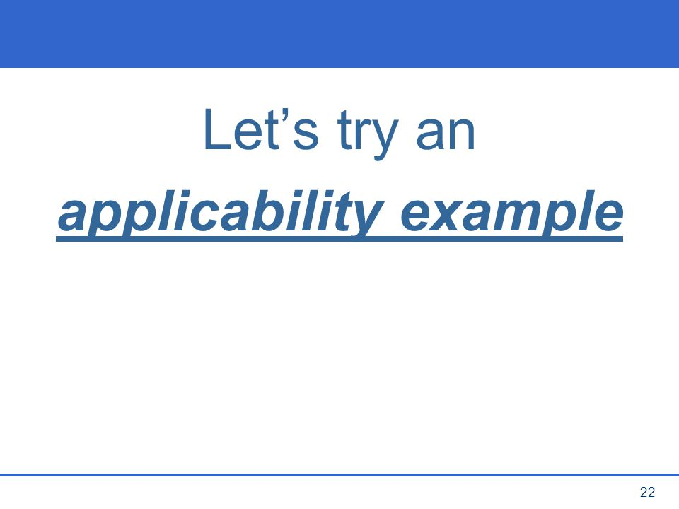 applicability example