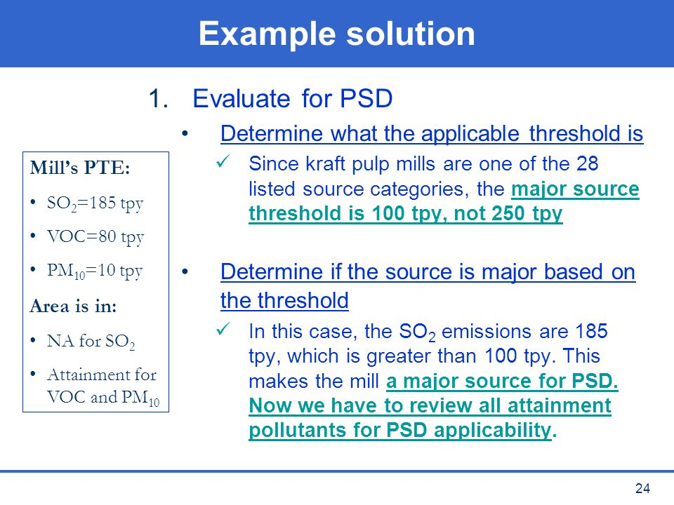 Example solution Evaluate for PSD