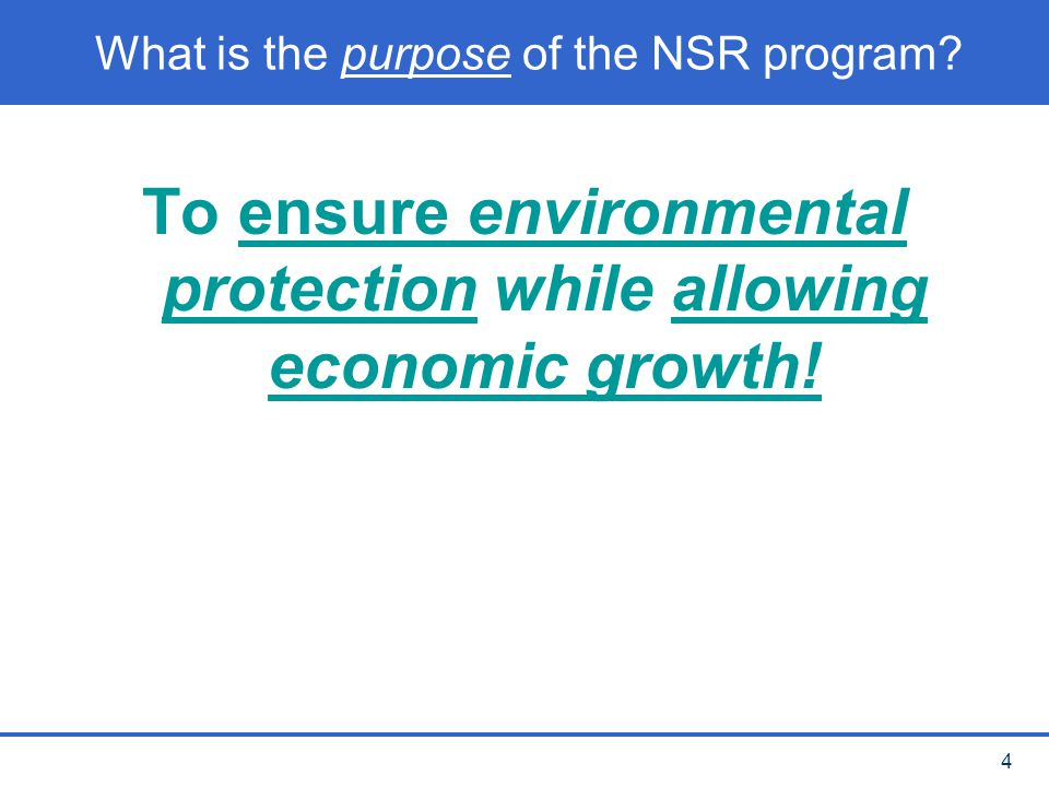 What is the purpose of the NSR program