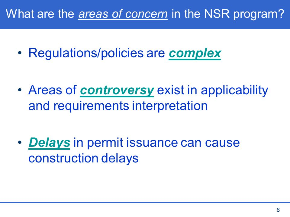 What are the areas of concern in the NSR program