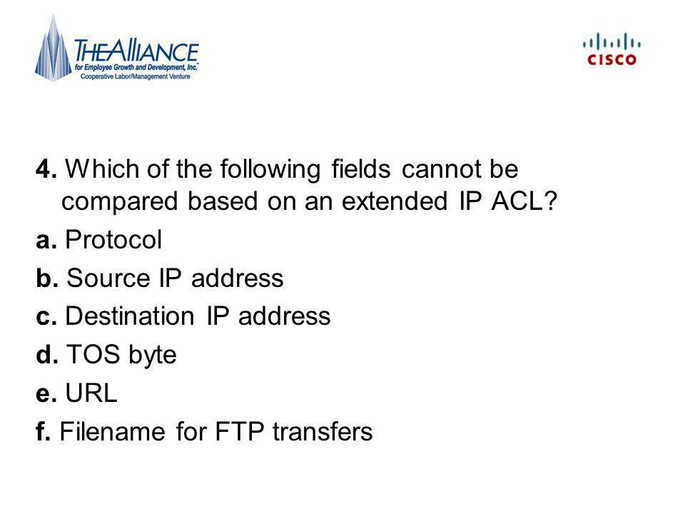 4. Which of the following fields cannot be compared based on an extended IP ACL