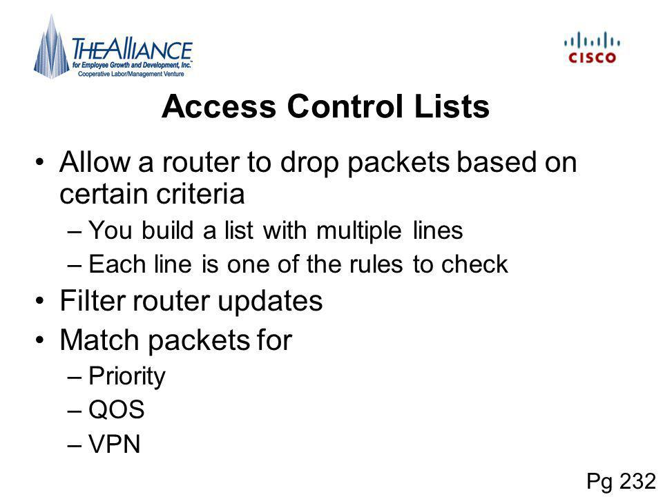 Access Control Lists Allow a router to drop packets based on certain criteria. You build a list with multiple lines.