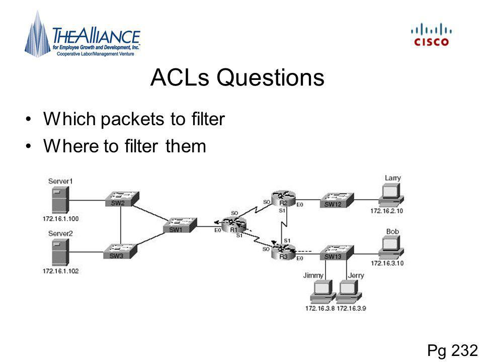 ACLs Questions Which packets to filter Where to filter them Pg 232