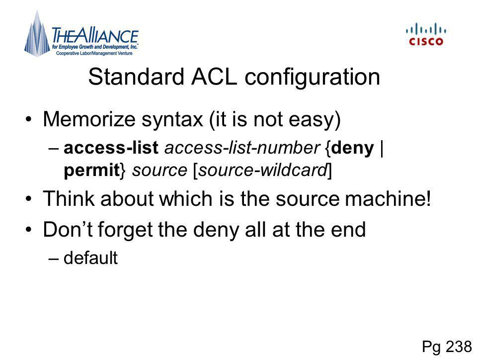 Standard ACL configuration
