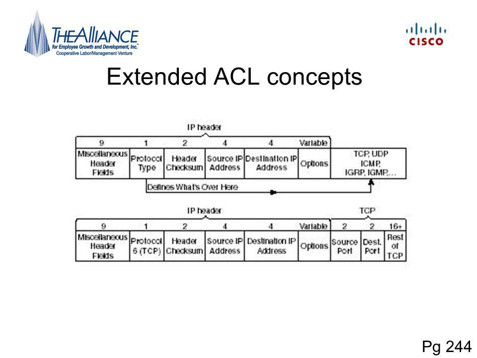Extended ACL concepts Pg 244