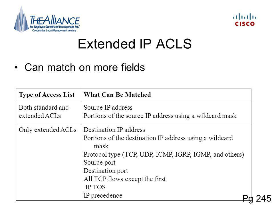 Extended IP ACLS Can match on more fields Pg 245 Type of Access List