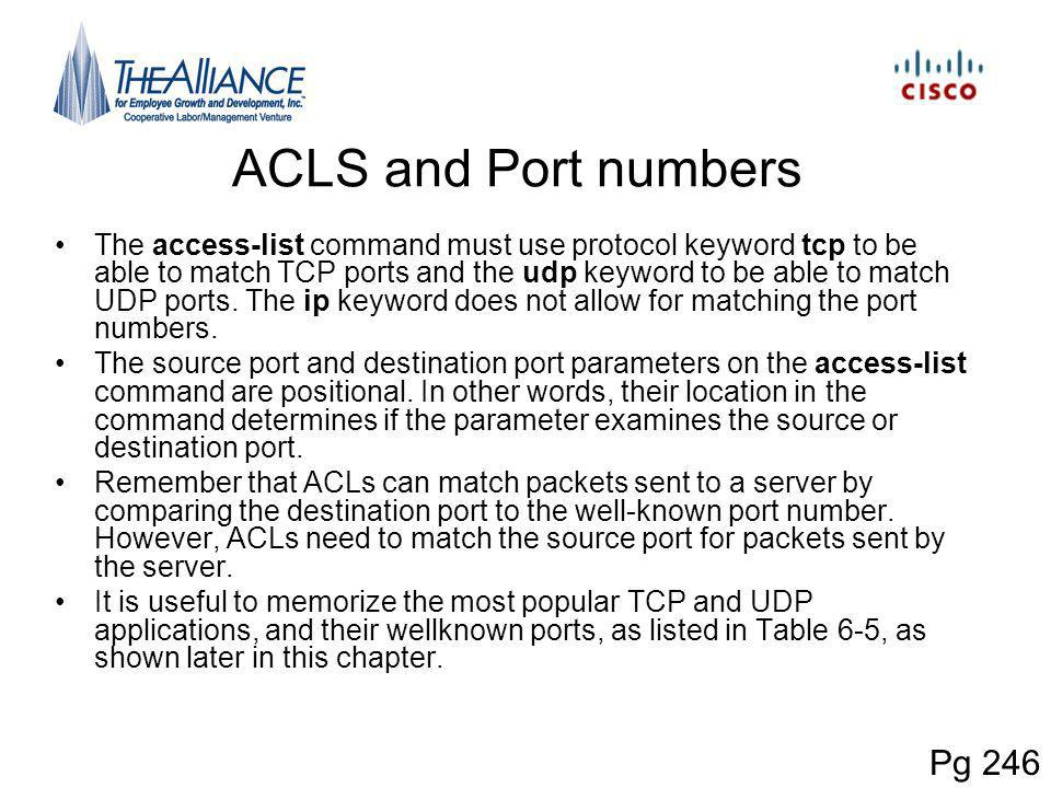 ACLS and Port numbers Pg 246
