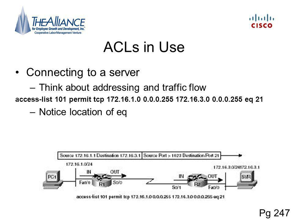 ACLs in Use Connecting to a server