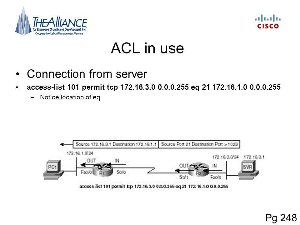 ACL in use Connection from server Pg 248