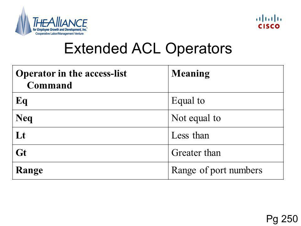 Extended ACL Operators