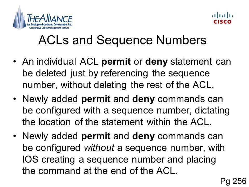 ACLs and Sequence Numbers