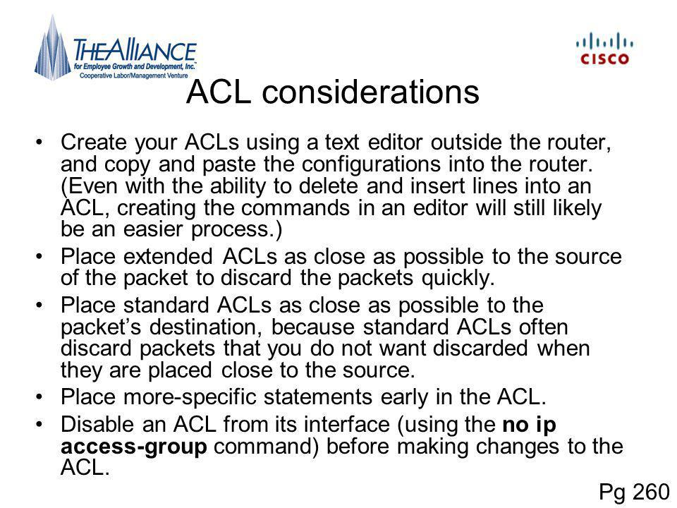ACL considerations