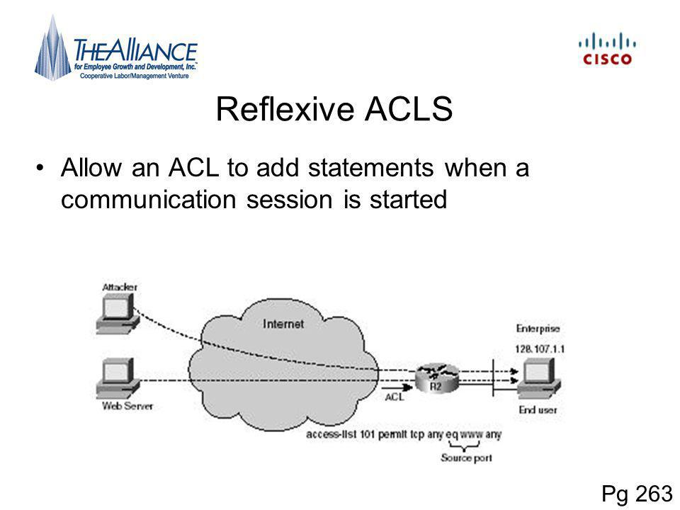 Reflexive ACLS Allow an ACL to add statements when a communication session is started Pg 263