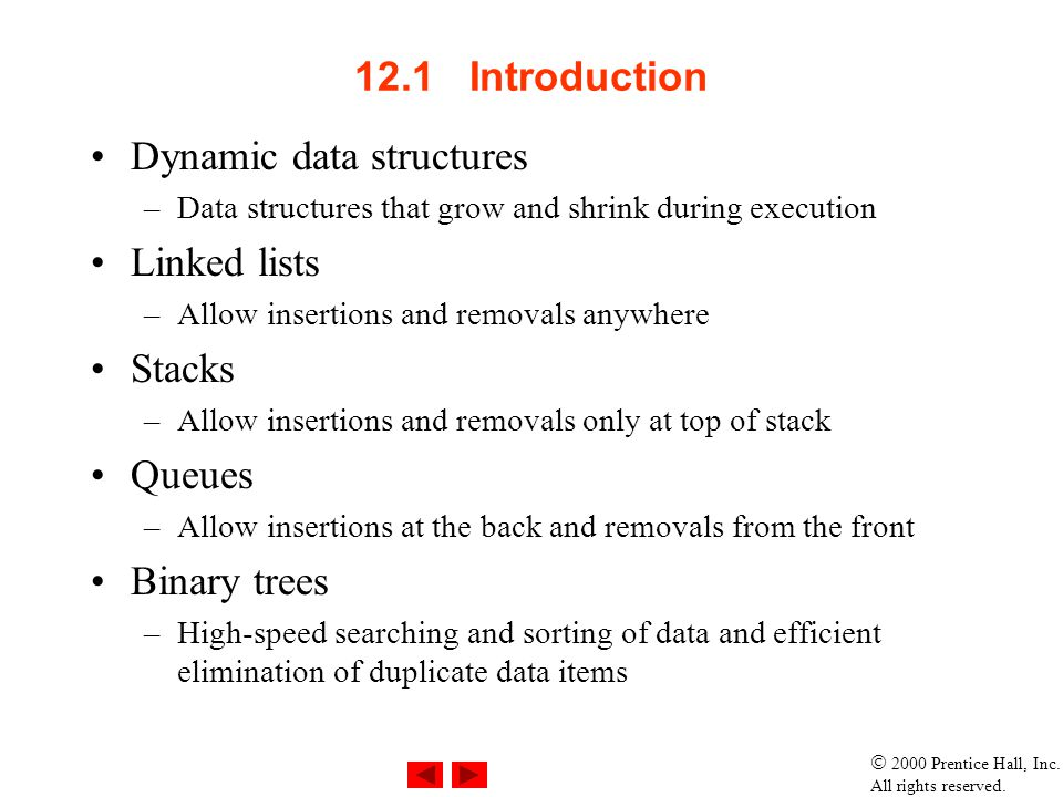Dynamic data structures Linked lists Stacks Queues Binary trees