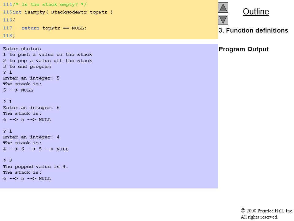 3. Function definitions Program Output