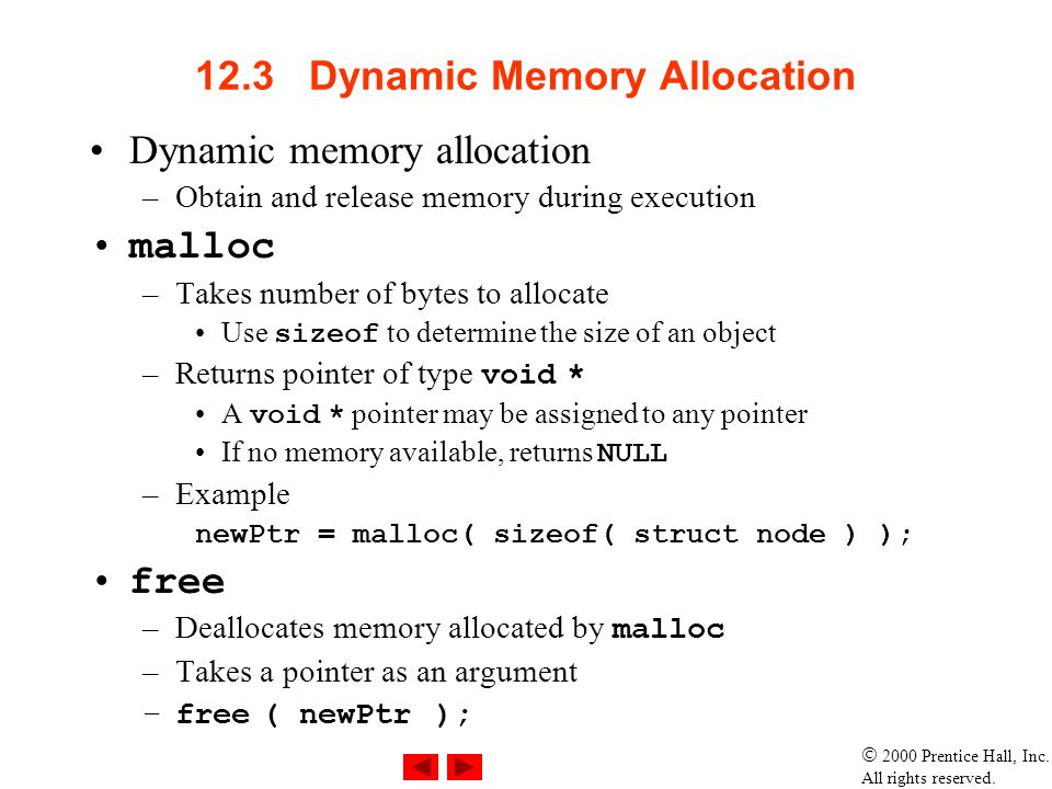 12.3 Dynamic Memory Allocation