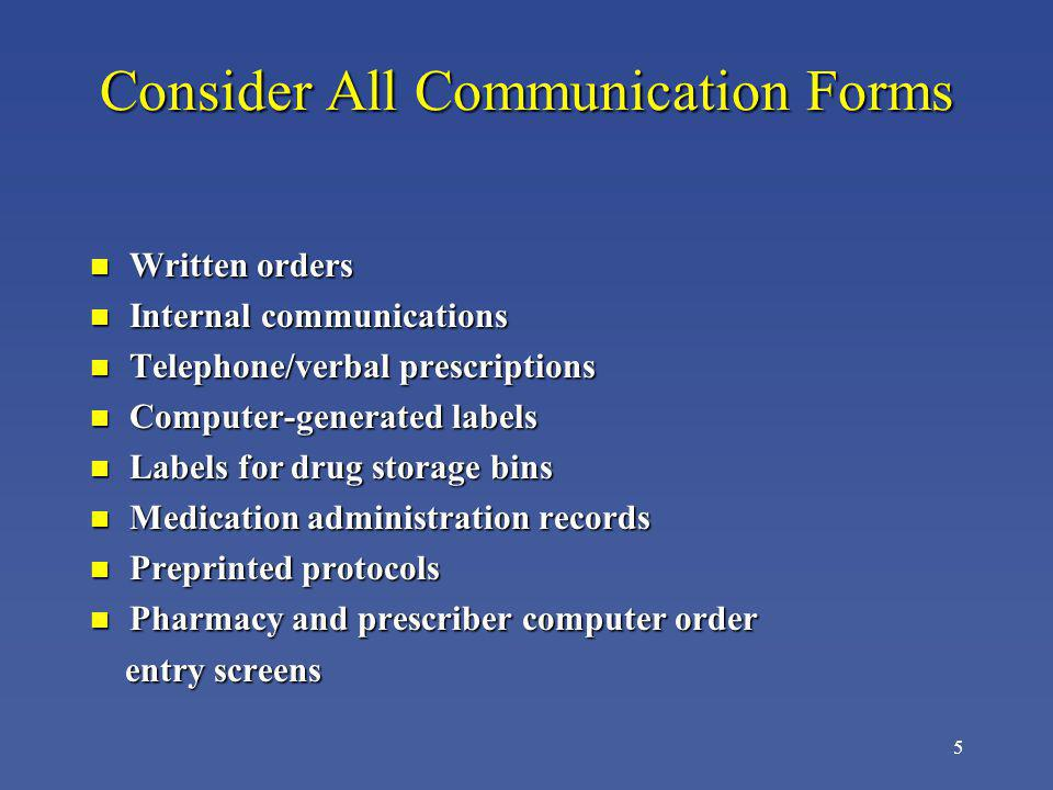 Consider All Communication Forms