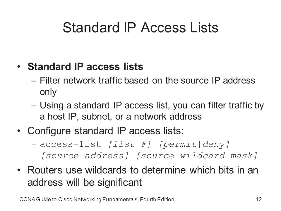Standard IP Access Lists