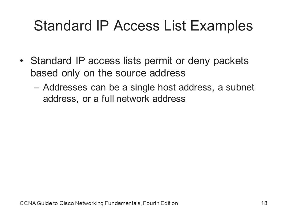 Standard IP Access List Examples
