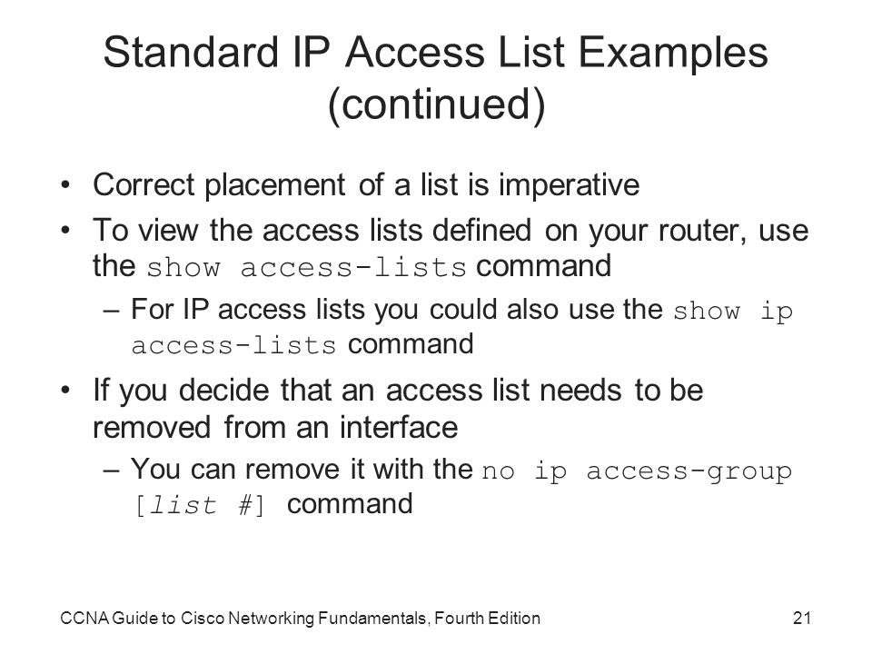 Standard IP Access List Examples (continued)