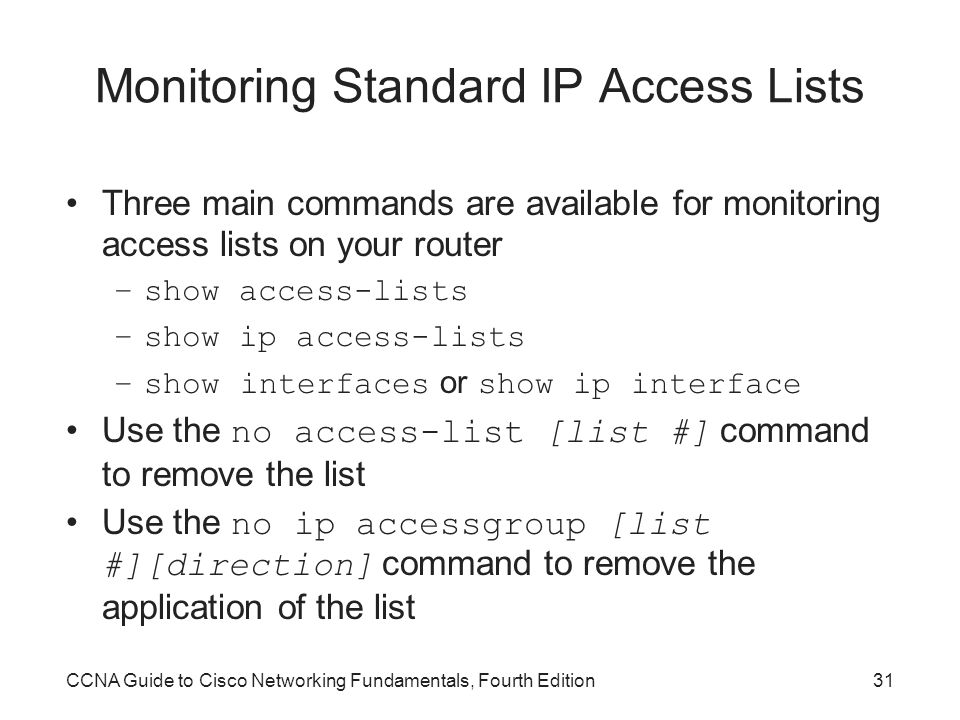 Monitoring Standard IP Access Lists