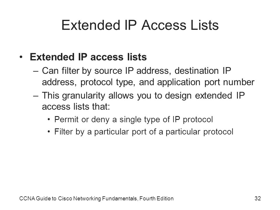 Extended IP Access Lists