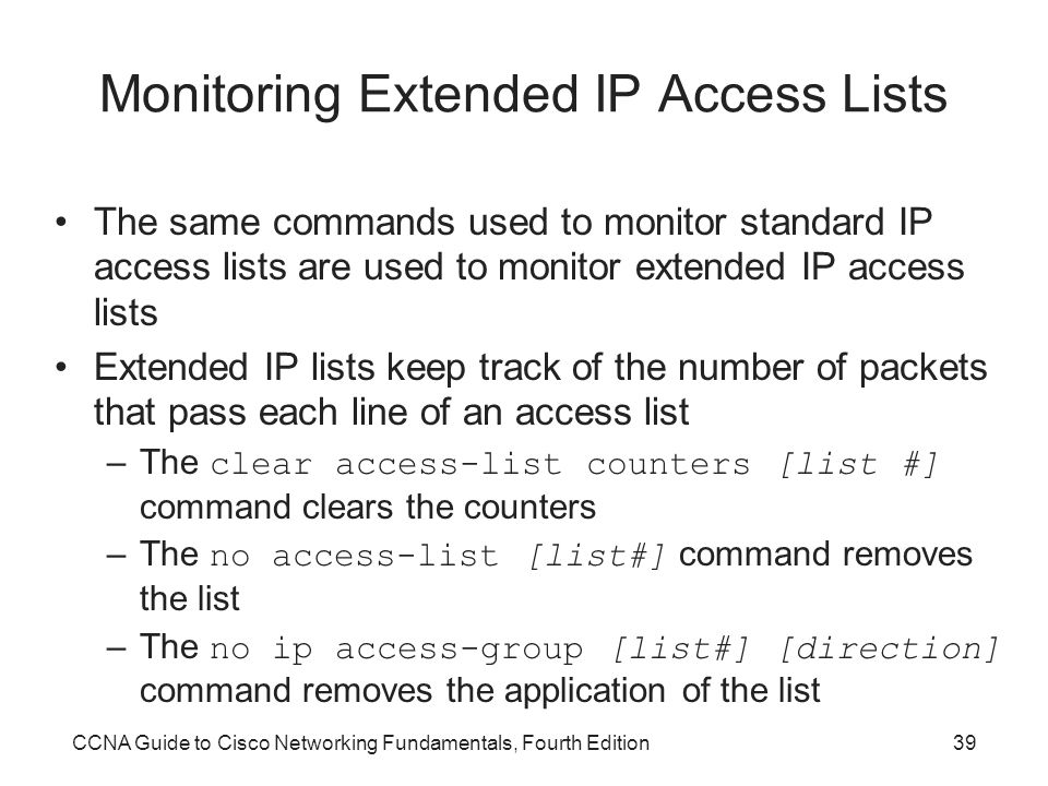 Monitoring Extended IP Access Lists