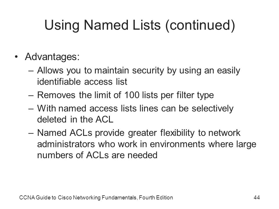 Using Named Lists (continued)