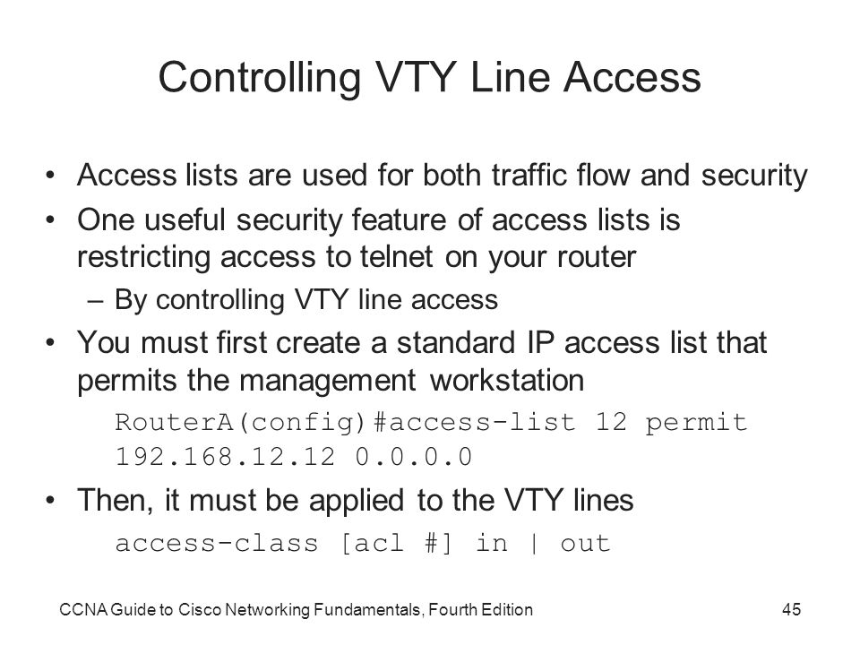 Controlling VTY Line Access