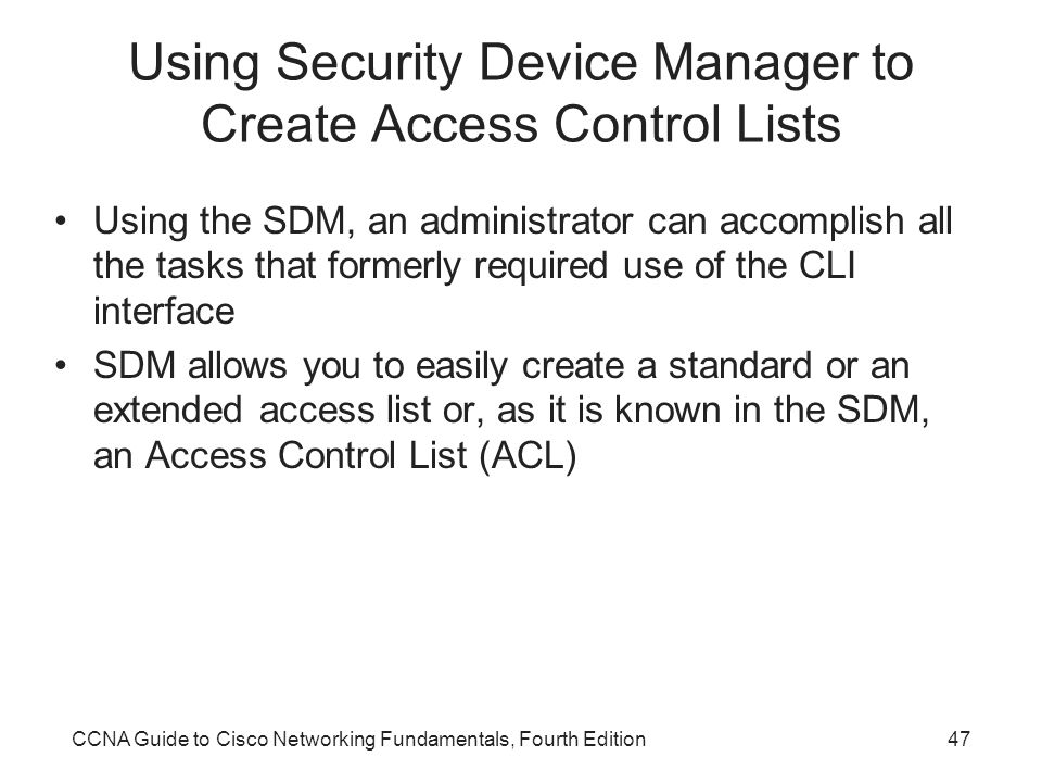 Using Security Device Manager to Create Access Control Lists