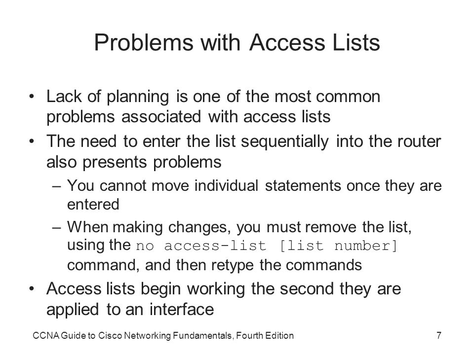 Problems with Access Lists