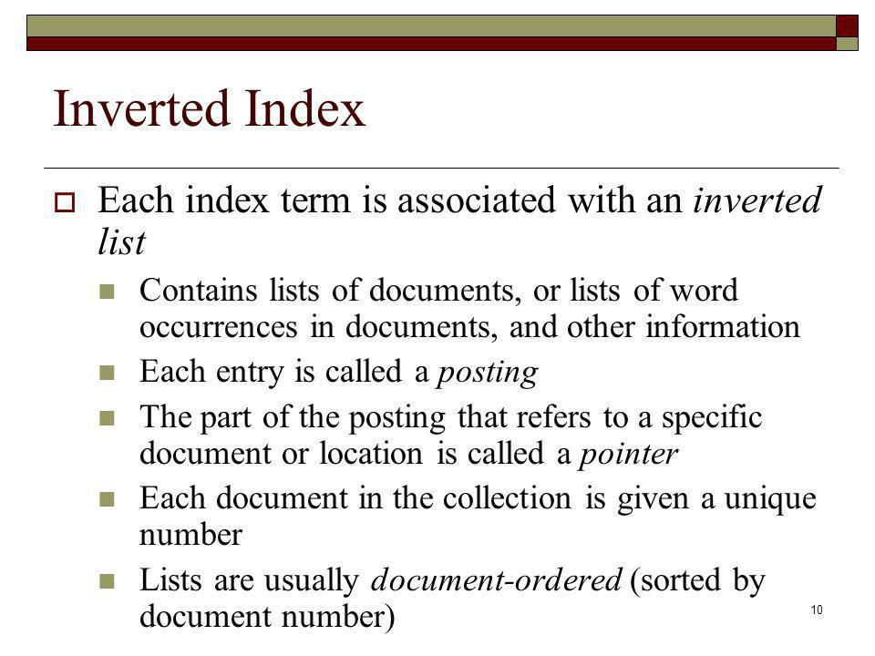 Inverted Index Each index term is associated with an inverted list