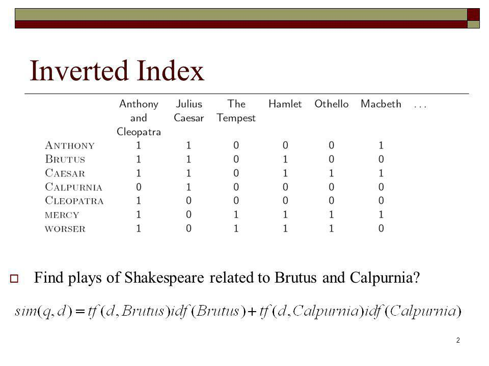 Inverted Index Find plays of Shakespeare related to Brutus and Calpurnia