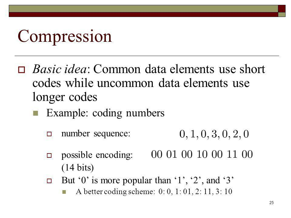 Compression Basic idea: Common data elements use short codes while uncommon data elements use longer codes.