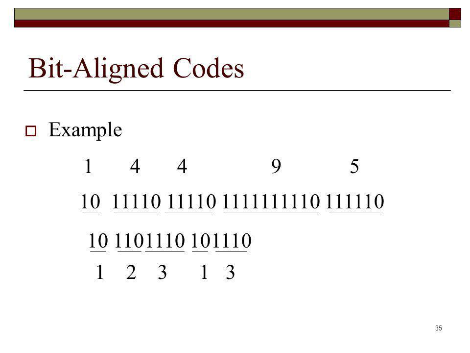 Bit-Aligned Codes Example 1 4 4 9 5 10 11110 11110 1111111110 111110