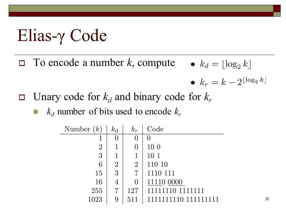 Elias-γ Code To encode a number k, compute