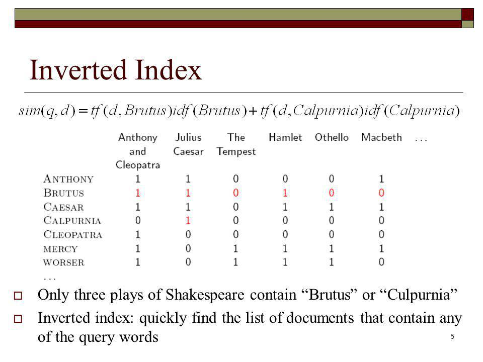 Inverted Index Only three plays of Shakespeare contain Brutus or Culpurnia