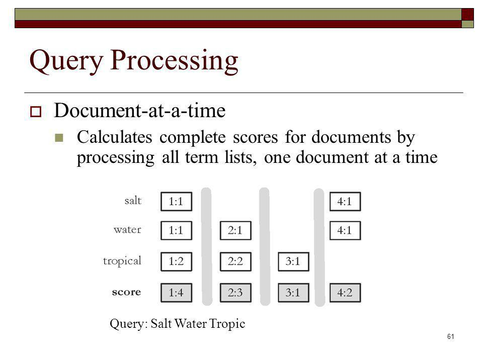 Query Processing Document-at-a-time