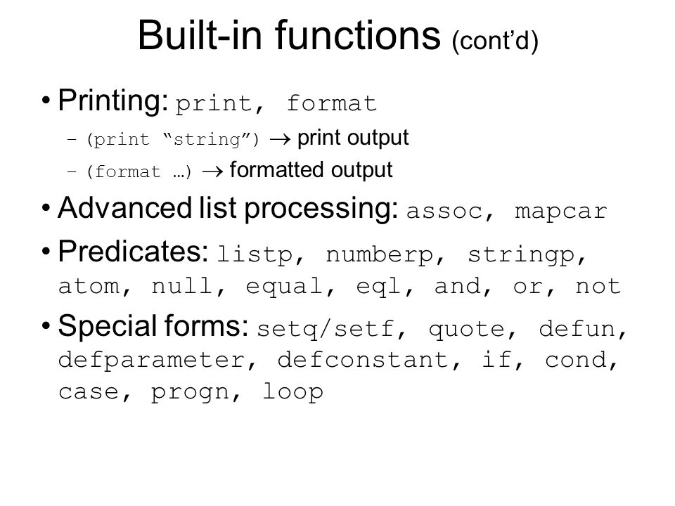 Built-in functions (cont'd)